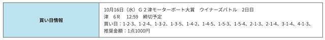 競艇研究エース無料津2019年10月16日